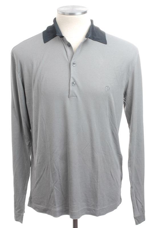 画像1: ジョルジオアルマーニ「黒ラベル」バンブーファイバー(竹繊維)長袖ポロシャツ(56) (1)