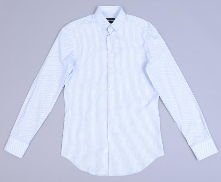 画像1: エンポリオアルマーニ 水色 ストライプ シャツ(38) ライトブルー 【国内発送】 (1)