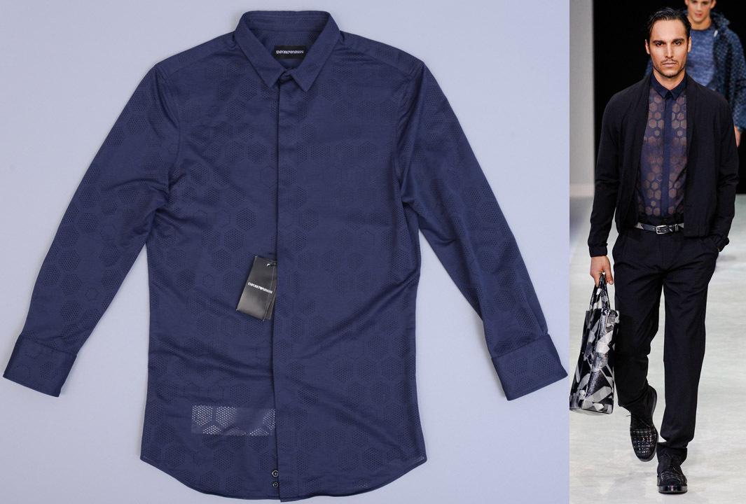 画像1: エンポリオアルマーニ コレクションモデル 紺 シャツ(38) 【国内発送】 (1)