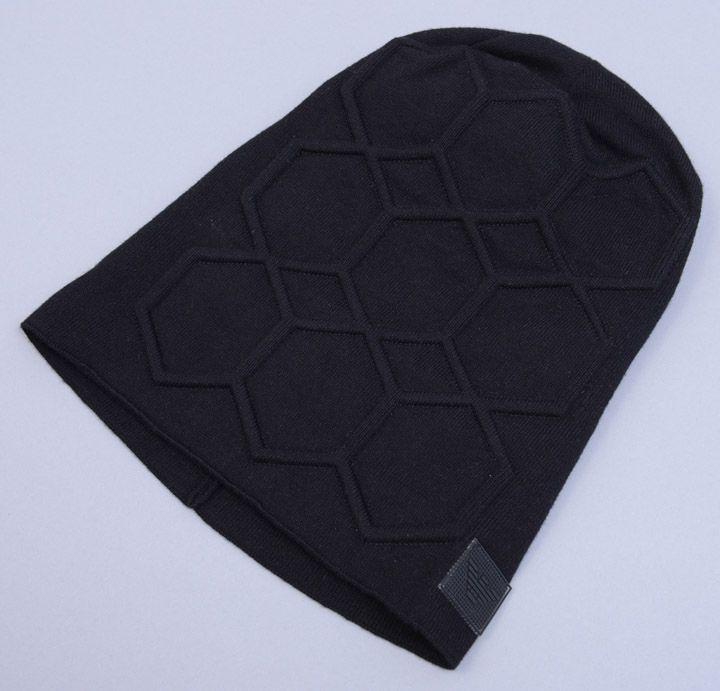 画像1: エンポリオアルマーニの黒いコットン製ニット帽(M) (1)