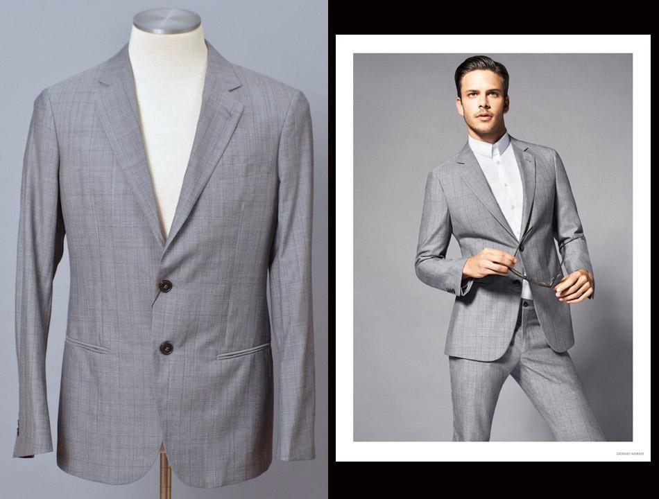 画像1: ジョルジオアルマーニ黒ラベル グレー グレンチェック柄「春夏 」ウールxシルク スーツ (52) S/S (1)