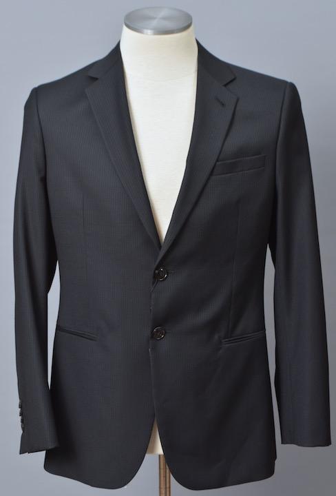 画像1: ジョルジオアルマーニ黒ラベル ダークチャコール, シャドーストライプ「春夏 」ウール スーツ (50) TAYLORモデルS/S (1)