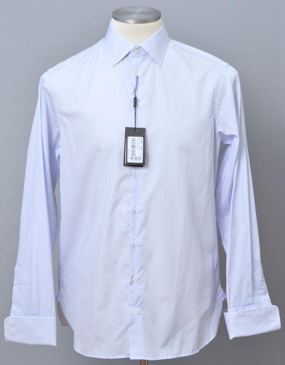 画像1: ジョルジオアルマーニ黒ラベル シャツ ストライプコットン製 (37/42) LUXURYライン カフス用 ライトブルー 青 (1)