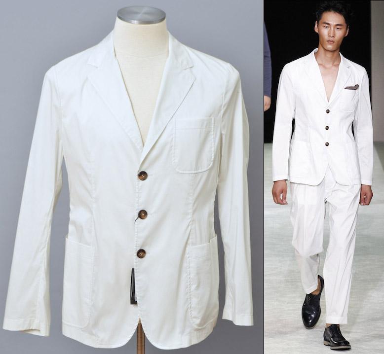 画像1: ジョルジオアルマーニ黒ラベル ホワイト/白 春夏 スーツ(56) コレクションモデル 大きいサイズL-XL S/S 【国内発送】 (1)