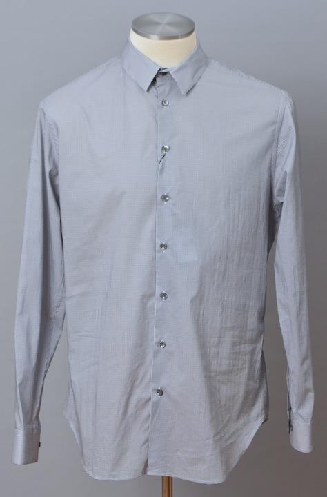 画像1: ジョルジオアルマーニ 黒ラベル コットン製 白x紺 シャツ(43/47) 大きいサイズ 「メタル製カラーキーパー付」 (1)