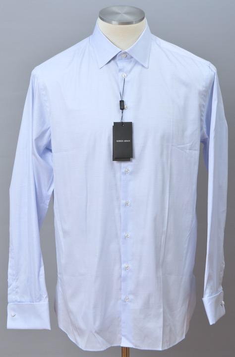 画像1: ジョルジオアルマーニ黒ラベル シャツ ライトブルー コットン製 (37/38/43/46) LUXURYライン カフス付 青 (1)