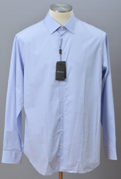 画像1: ジョルジオアルマーニ黒ラベル シャツ ライトブルー コットン製 (37) (1)
