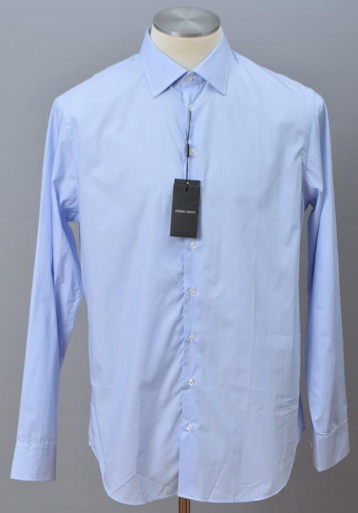 画像1: ジョルジオアルマーニ黒ラベル シャツ ライトブルー ストライプ コットン製 (43) (1)