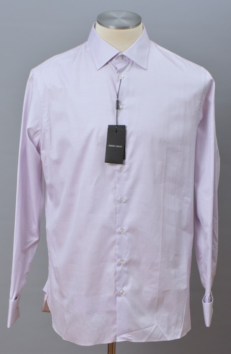 画像1: ジョルジオアルマーニ黒ラベル シャツ ライトピンク系 コットン製 (43) LUXURYライン カフス付 大きいサイズ (1)