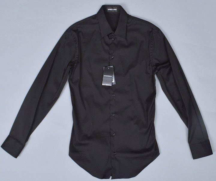 画像1: エンポリオアルマーニ コットン製 スリムフィット 黒 シャツ(38/39)  【国内発送】 (1)