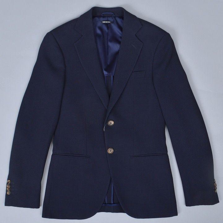 画像1: ジョルジオアルマーニ黒ラベル 紺色ジャケット (44) GEORGEモデル レーヨンxウール「春夏 」S/S 小さいサイズ (1)