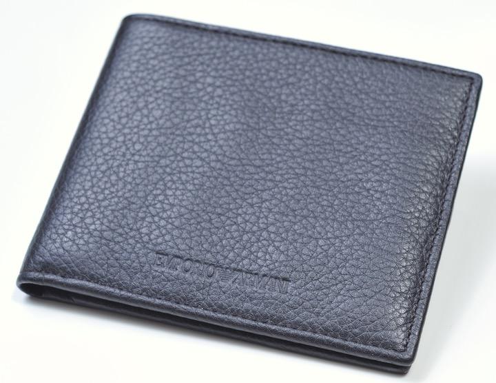 画像1: エンポリオアルマーニの2つ折りレザーウォレット(茶) 財布 (1)