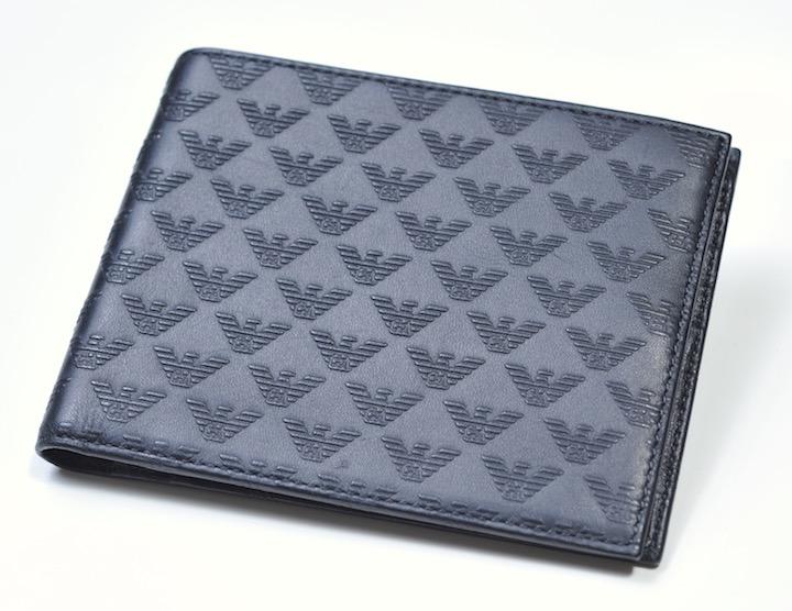 画像1: エンポリオアルマーニ「モノグラム」2つ折りレザーウォレット 財布 (1)