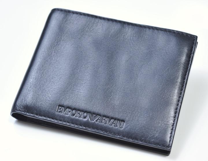 画像1: エンポリオアルマーニの2つ折りレザーウォレット 財布 (1)
