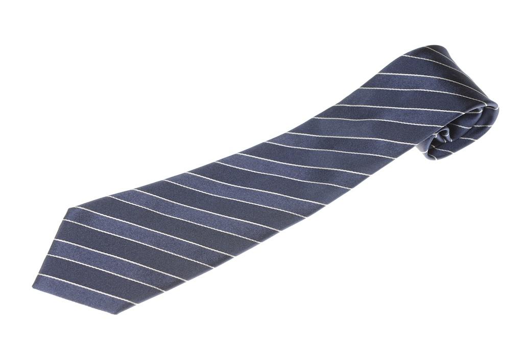 画像1: ジョルジオアルマーニ黒ラベル ネクタイ    紺ストライプ (1)