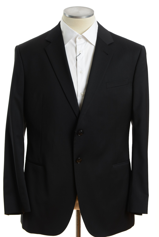 画像1: ジョルジオアルマーニ黒ラベル「SUPER 150's」ブラックスーツ(56/60) 黒色無地 TAYLORモデル 冠婚葬祭/結婚式 (1)