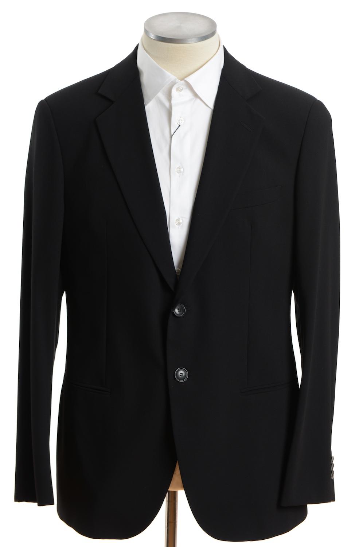 画像1: ジョルジオアルマーニ黒ラベル ブラックスーツ(56) 黒色無地 冠婚葬祭/結婚式 S/S (1)