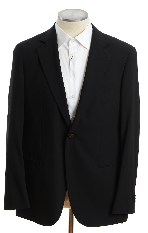 画像1: ジョルジオアルマーニ黒ラベル「ウール100%」定番ネイビースーツ(56) 濃紺無地 (1)