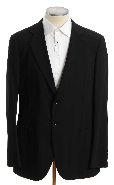 画像1: ジョルジオアルマーニ黒ラベル ブラックスーツ(58L) 黒色無地 冠婚葬祭/結婚式 A/W (1)