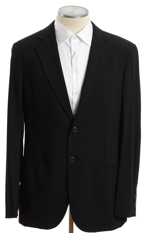 画像1: ジョルジオアルマーニ黒ラベル「ウール100%」定番ブラックスーツ(56) 黒色無地 冠婚葬祭/結婚式 (1)