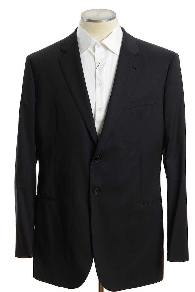 画像1: ジョルジオアルマーニ黒ラベル「ウール100%」定番ネイビースーツ(58)A/W 濃紺無地 (1)