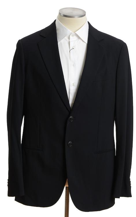 画像1: ジョルジオアルマーニ黒ラベル「ウール100%」定番ネイビースーツ(56L)S/S 濃紺無地 (1)