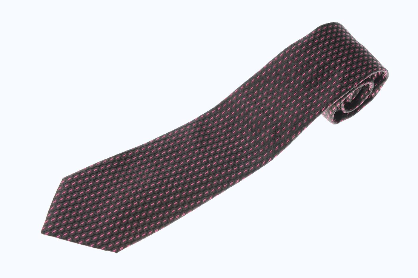 画像1: アルマーニコレツィオーニ ネクタイ 黒xピンク系 (1)
