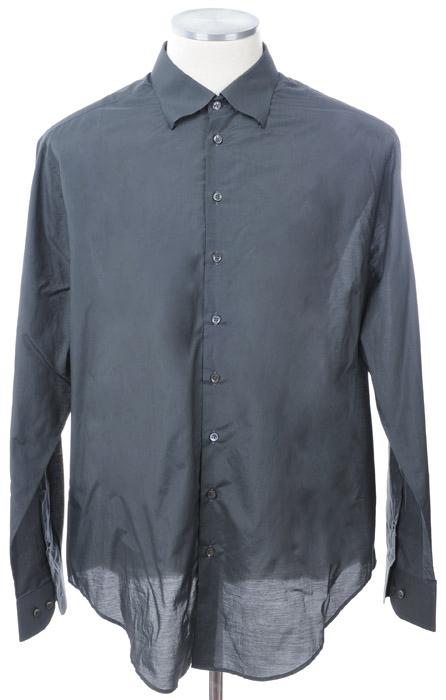 画像1: ジョルジオアルマーニ「黒ラベル」シルクxコットン混紡シャツ(40) (1)