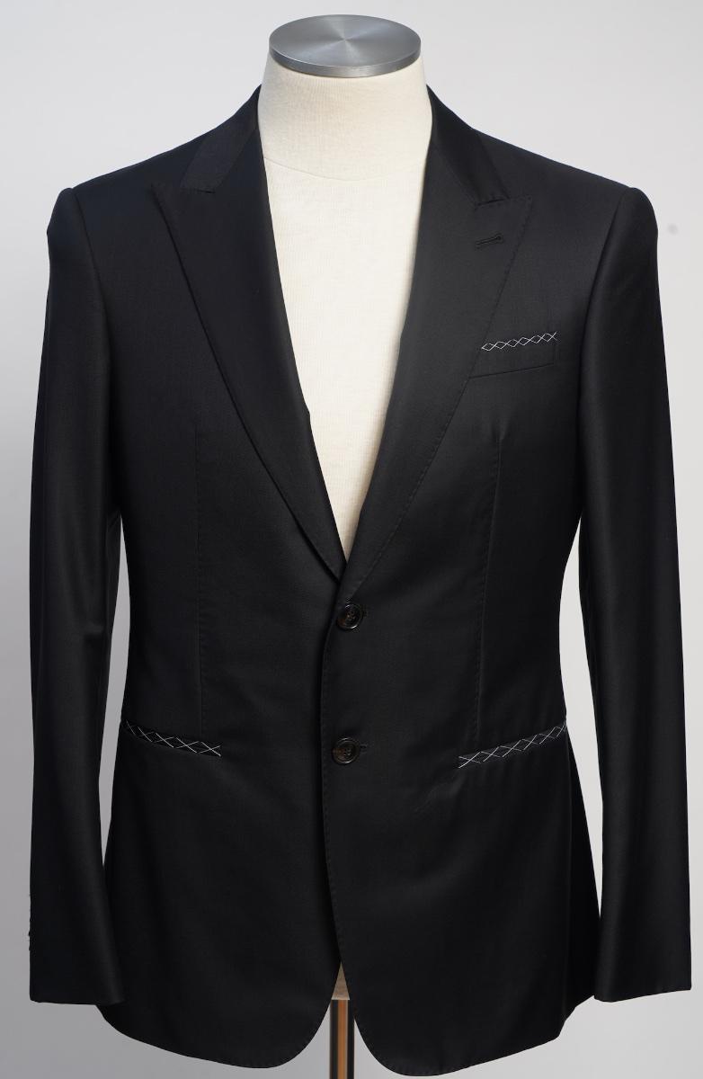 画像1: ジョルジオアルマーニ黒ラベル「TRADERモデル」ブラックスーツ(50)S/S 冠婚葬祭 黒スーツ カシミヤ混紡 (1)