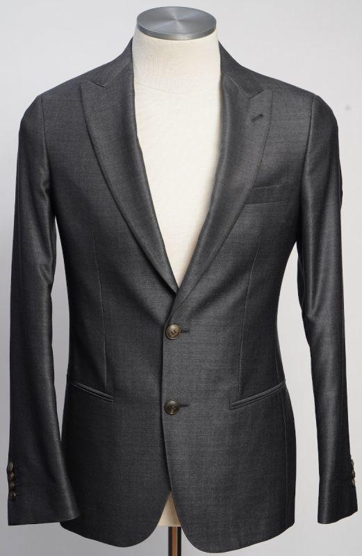 画像1: ジョルジオアルマーニ黒ラベル ウールxシルク 「SOHOモデル」グレー無地スーツ(48)A/W (1)
