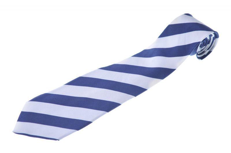 画像1: ジョルジオアルマーニ黒ラベル ネクタイ  ブロックストライプ 紺x白 (1)