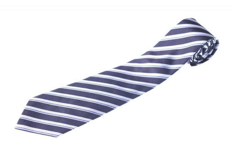 画像1: ジョルジオアルマーニ黒ラベル ネクタイ  紺 ダブルストライプ (1)