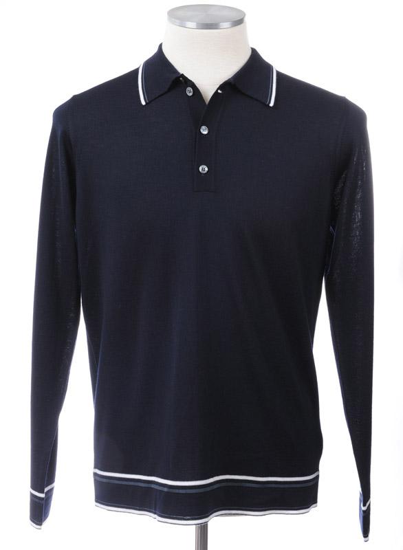 画像1: ジョルジオアルマーニ黒ラベル「紺色ウール」長袖ポロシャツ(58) (1)