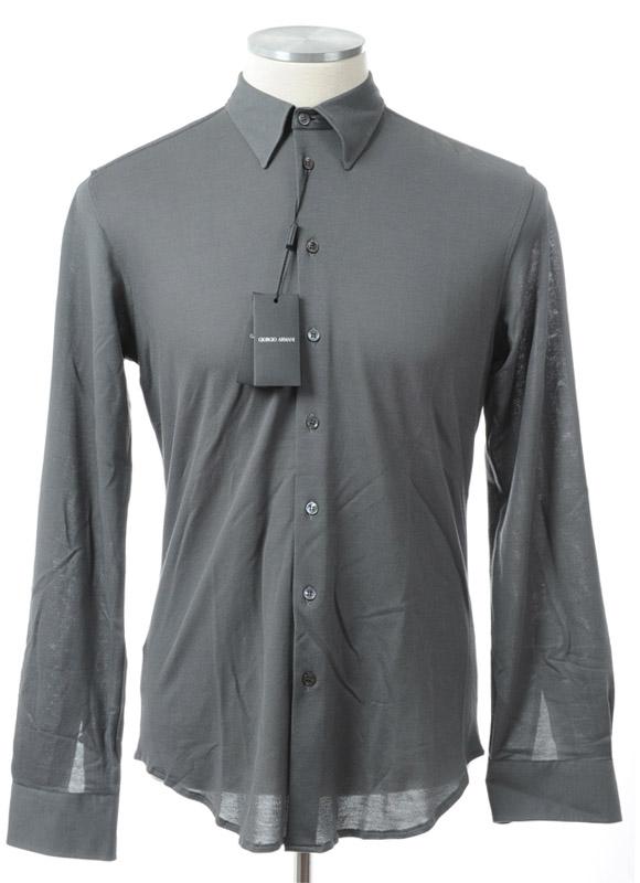 画像1: ジョルジオアルマーニ「黒ラベル」グレーシャツ(40) (1)