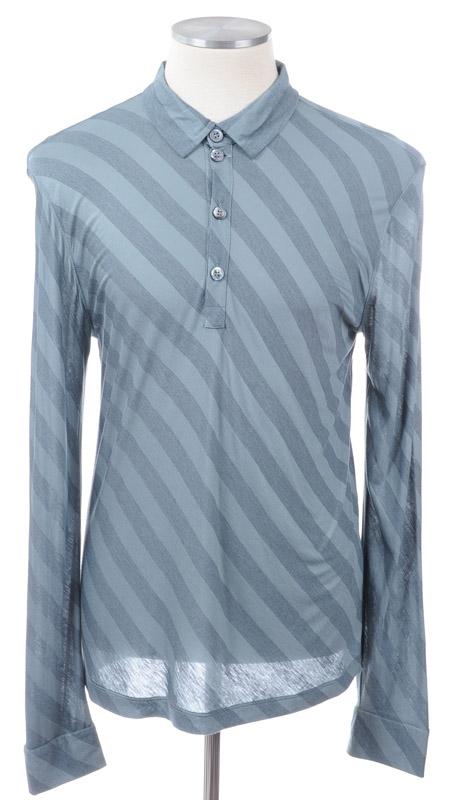 画像1: ジョルジオアルマーニ黒ラベル「グリーンストライプ」シャツ(56)定価$575 (1)