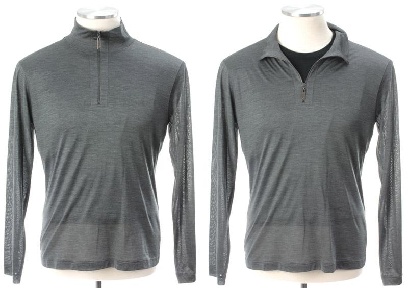 画像1: ジョルジオアルマーニ黒ラベル「シルク100%」グレー セーター(56) 【国内発送】 (1)
