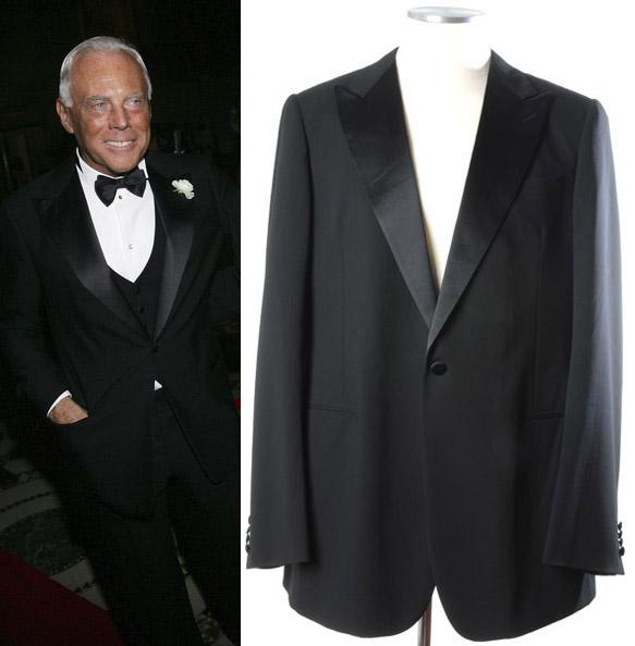 画像1: ジョルジオアルマーニ黒ラベルの極上タキシードスーツ(56)冠婚葬祭 【国内発送】 《《SALE》》  (1)