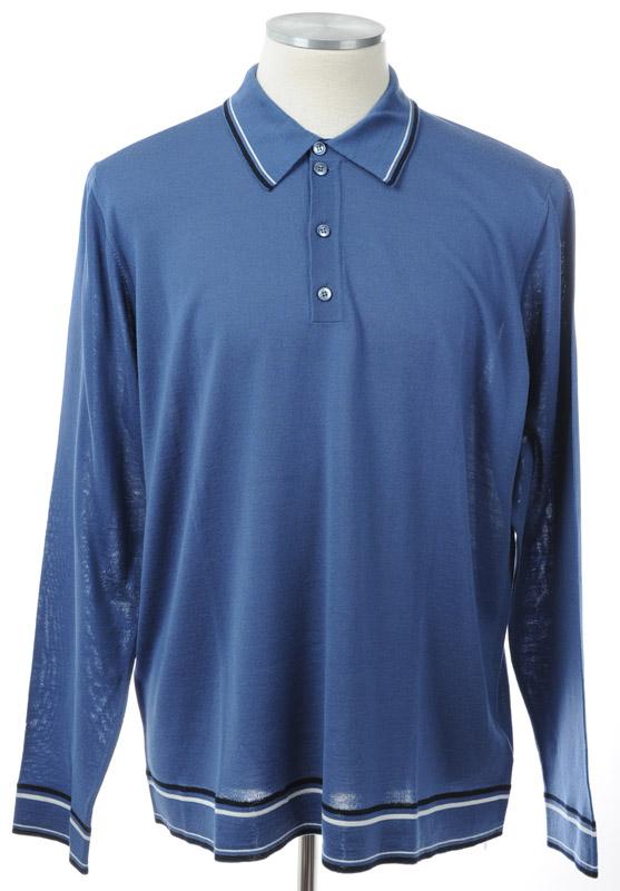 画像1: ジョルジオアルマーニ黒ラベル「ウール」長袖ポロシャツ(52/60) (1)