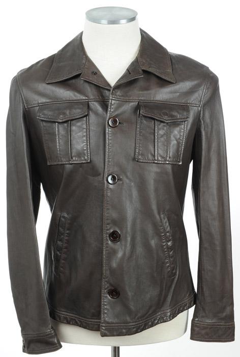 画像1: ジョルジオアルマーニ「黒ラベル」レザージャケット(54)茶色革ジャン (1)