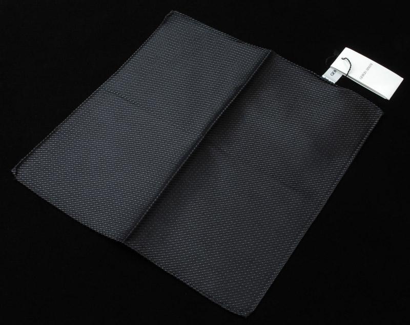 画像1: ジョルジオアルマーニ「ブラックxブラウン」ポケットチーフ (1)
