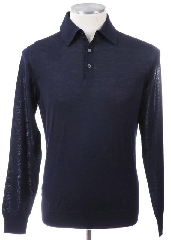 画像1: ジョルジオアルマーニ黒ラベル「ウール」長袖ポロシャツ(52)A/W (1)